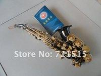 Gratis verzending Xinghai kleine gebogen hals B soprano saxofoon b platte zwarte nikkel vergulde goud lak sleutels hand gesneden met mondstuk