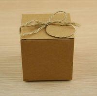Kraftpapier Hochzeit Candy Box braune quadratische Pappkartons für Verpackungsgeschenkbox Partei liefert 100pcs / lot
