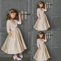 Champagne Flower Girls Dresses Jewel 3 4 Long Sleeves Birthday Gowns With Lace Applique Ankle-Length Custom Made Formal Party Dresses
