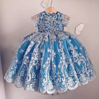 Adorable Lace Appliqued Flower Girl Dresses Lovely Short Sleeves Bow Back Girls Pageant Vestidos 2018 Hand Made Baby Girls Birthday Dress