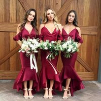 Tea Length High Low Burgundy Spaghetti Straps Long Bridesmai...