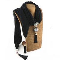 Franja de la bufanda de la joyería de la borla de la bufanda colgante collar de las mujeres de aleación de piedra colgante largo collar joyería étnica decoraciones regalo