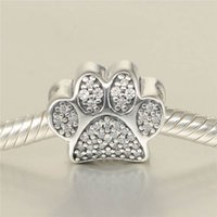 5 pcs lot Dog paw print charms S925 sterling silver fits pan...