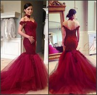 Tulle Lace Bodice Off The Shoulder Red Mermaid Prom Dress Sw...
