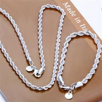 Fashion 925 Sterling Silver Set Solid Rope Chain 4MM Men Wom...