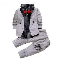 Baby Boys Autunno Casual Abbigliamento Set Bambini Bambini Bottone Lettera Abbigliamento Abbigliamento Set Babe Giacca + Pant set da 2 pezzi