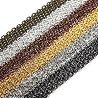 30pieces / lot Ródio Colar / Silver / Gold / Gunmetal / Antique Bronze Cor massa Correntes de latão para Jóias DIY Fazendo Materiais F712