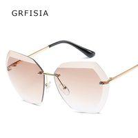 Grfisia ransparent التدرج نظارات الشمس النساء نظارات أنيقة البصريات بدون نظارة فام سيدة المتضخم الشهير 375