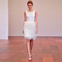 High End Custom Made Ostrich Feather Knee Length Skirts Penc...