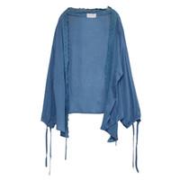 Sisjuly Женщины Повседневная тонкий УФ-защиты Sunproof кимоно кардиган трикотаж синий летние кружева свободные кружева Up трикотажные мода пальто