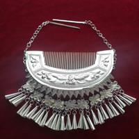 Miao Xiang Dong Village Miao gioielli Handmade Miao argento accessori per capelli Classic frangia inserita pettine