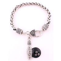 Mode Antik Silver Pläterad Vete Kedja Armband med Bowling Pin And Ball Crystal Pendant Bracelet Smycken