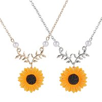 Fashion Silver Gold Color SunFlower Flower Daisy Pendant Cha...