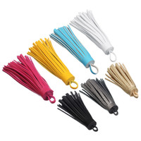 5pcs/lot 6cm Length Suede Tassels Multi Colors Faux Leather Fringe Tassels Charm with Loop for DIY Jewelry Making Materials