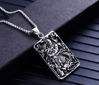 Hot Europa e nos Estados Unidos jóias de aço inoxidável pingente de guan gong masculino titanium aço fan guan yu colar de moda acessórios quentes