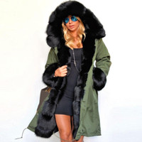 Moda Donna Donna Casual Faux Fur Coat Autunno Inverno Warm Hood Cappotto Lungo Trench Chic Jacket Outwear Top