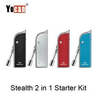 Auténtico Yocan Stealth 2 en 1 Flip Starter Kit con concentrado de cera y jugo Aceite espeso Atomzier 650mAh Variable Voltage Box Mod Battery