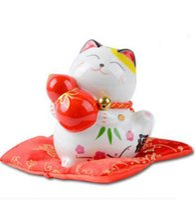 Keramik Maneki Neko Autozubehör Sparschwein Wohnkultur Handwerk Zimmer Dekoration Porzellan Tierfiguren Kawaii Glückliche Katze