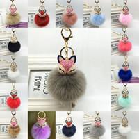 متعدد الألوان فوكس الفراء سلسلة المفاتيح اللؤلؤ pompom الأرنب الأرنب الفراء الكرة مفتاح سلسلة بورت سحر حقيبة يد حلقة رئيسية