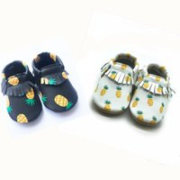 2018 summer pineapple design baby moccasins shoes, genuine le...