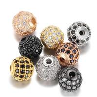5 pcs / lot Boule Ronde CZ Perles 8mm 10mm DIY Perle En Métal Laiton Micro Pave Cubique Zircon Spacer Perle Charmes En Gros VNISTAR