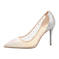 Sexy red bottom high heels nude meshy rhinestone wedding sho...