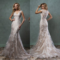 Elegant Full Lace Mermaid Wedding Dresses 2018 V Neck Sheer ...