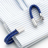 Heißer Verkaufs-Blau-Leder-Ketten Manschettenknöpfe Gesunde Manschettenknopfetui Weaving Cuffs Knopf Gemelos Männer Schmuck Weise5pairs Zubehör 248