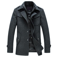 Mens Overcoat Winter Wool Coat Slim Fit Jackets Fashion Oute...
