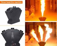 3 Kafalar Yangın Makinesi Üçlü Alev Makinesi DMX Kontrol Alev Projektör Düğün Parti Sahne Disko Efektleri Için LLFA