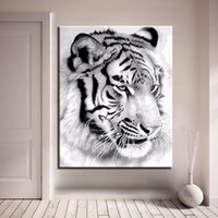 DIY Oil Painting By Numbers Abstract Coloring White Tiger Ca...