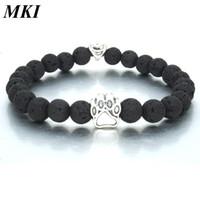 Handmade 8MM Black Lava Stone Beads strand Bracelet Essential Oil Diffuser Heart Dog Paw Charms Bracelets Pet Lover Beaded Hand Strings