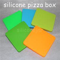 1 pieza Popular Antiadherente contenedor de cera jarra de silicona plana bho contenedor concentrado de aceite de cera caja cuadrada de pizza de silicona Para Dab cera