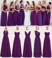 2019 gasa púrpura vestidos de dama de honor longitud de piso una línea Long Boda Dama de honor Vestidos de dama de honor a medida Mangos sin mangas Moda de vestidos de honor