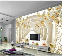 3D espaço de expansão tridimensional Yulan Jiuyuqiao Cave mural 3d papel de parede 3d papéis de parede para tv pano de fundo