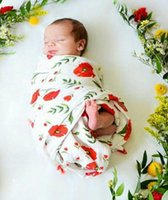 Baby Floral Print Wrap Swaddles Blankets Double Layer Cotton...