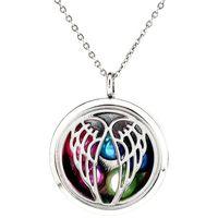 """K1181 Perle di perle di 8 mm Gabbia di perle d'argento 30 millimetri rotondo angelo medaglione galleggiante magnetico 20 """"Pendenti di catena donne Charms"""