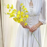 Flores de seda flores artificiais dança senhora orquídea Oncidiums falso para casa festa de casamento decoração arranjos de mesa de flores fotografia