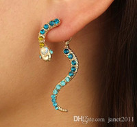 Vintage Snake Stud Earring For Girls Ladies Gold Plated Rhin...