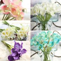 Barato PU artificial PU mini nupcial flor calla buquê de touch flores para decoração home casamento flores decorativas 12 cores opção F169