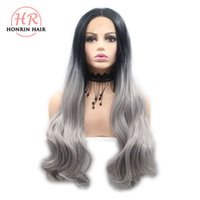 Honrin Hair Long Body Wave Hair Black To Grey Ombre Wigs Syn...