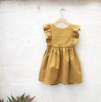 INS girls cotton linen dresses falbala fly sleeve summer dress for children mustard princess clothing Y1104