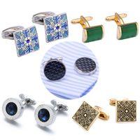 Austrian Cristal Abotoaduras luxo shirt Abotoaduras para o alto grau Man Luxury Jewelry Mens azul do esmalte de cristal Cufflinks