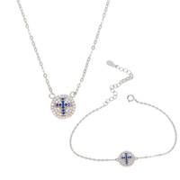 100% 925 plata esterlina joyería mínima cruz azul grabado redondo disco disco encanto simple cz pavimentado collar de pulsera conjunto de collar