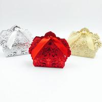 Лазерная резка коробки благосклонности венчания полые шоколадные конфеты коробки свадебные сувениры подарки Красное Белое золото шампанское