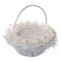 Cesto di fiori di piume di struzzo bianco Cestino di fiori di rosa rotondo elegante Bomboniere Decorazione di nozze Nuovo