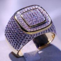 Marque de luxe Superbe Desgin Bijoux Argent 925 Gold Filled Pave pleine blanc saphir CZ diamant hommes mariage doigt Bague cadeau