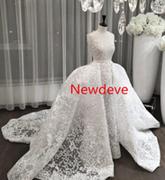 Luxury Strapless Lace Ball Gown Wedding Dresses Plus Size Ve...