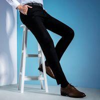 Yeni Varış Marka Iş Rahat Pantolon Erkekler Resmi Fit Orta Elbise Suit Tam Boy Parfüm Streç Ofis Düğün Mens Pantolon
