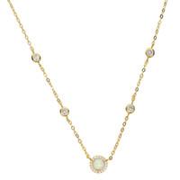 Argent Gold Rose Gold 3 Couleur CZ Station Collier Opal Fine 925 Sterling Silver Bijoux Round Geometric Charm Chaîne Chaîne Chaîne Mode